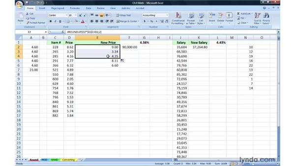 Working with rounding functions: Excel 2007: Advanced Formulas and Functions