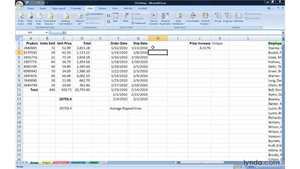 Extending formula capabilities with Arrays: Excel 2007: Advanced Formulas and Functions