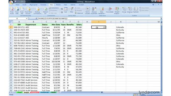 Counting unique entries in a range with an Array formula: Excel 2007: Advanced Formulas and Functions