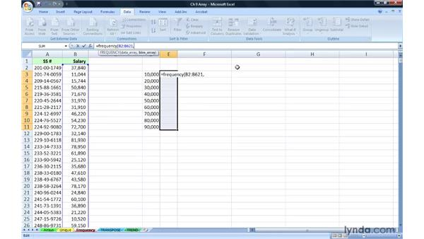 Determining frequency distributions with FREQUENCY: Excel 2007: Advanced Formulas and Functions