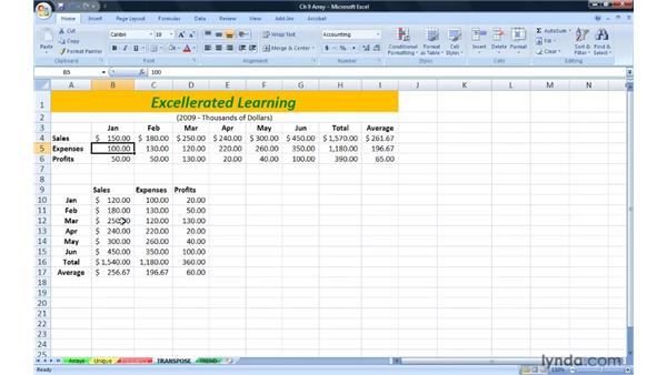 Flipping row/column orientation with TRANSPOSE: Excel 2007: Advanced Formulas and Functions