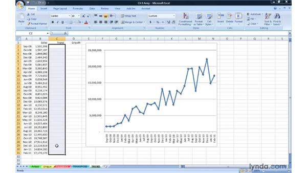 Building analysis via regression techniques with TREND and GROWTH: Excel 2007: Advanced Formulas and Functions