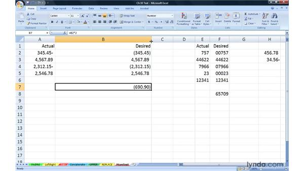 Reviewing additional text functions: Excel 2007: Advanced Formulas and Functions