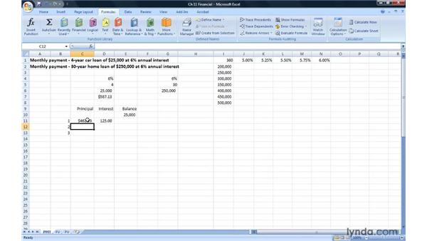 Calculating payments with PMT: Excel 2007: Advanced Formulas and Functions