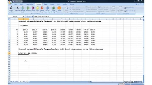 Finding future values with FV: Excel 2007: Advanced Formulas and Functions