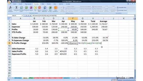 Using error-checking functions: ISERR, ISERROR, IFERROR: Excel 2007: Advanced Formulas and Functions