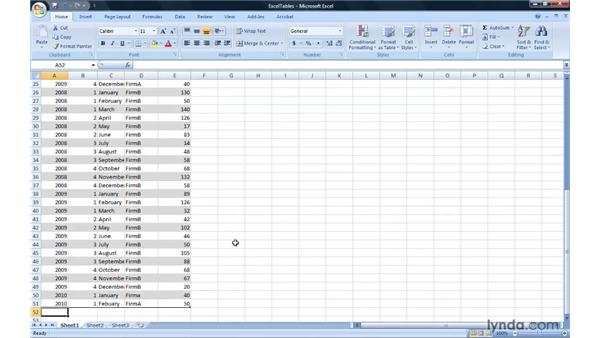 Managing lists of data using Excel tables: Migrating from Excel 2003 to Excel 2007