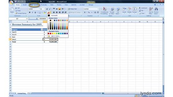 Formatting a workbook: Migrating from Excel 2003 to Excel 2007