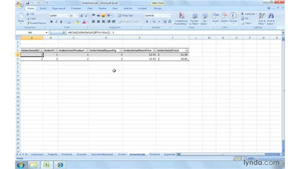 Combining tables: Excel 2007: Creating and Managing Invoices
