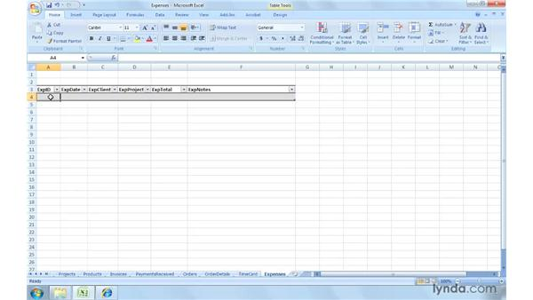 Tracking reimbursable expenses: Excel 2007: Creating and Managing Invoices