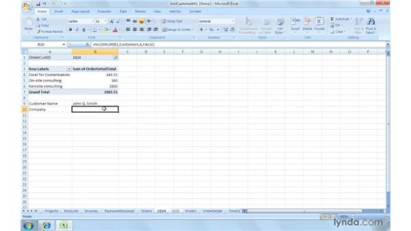 Adding customer information to invoices : Excel 2007: Creating and Managing Invoices