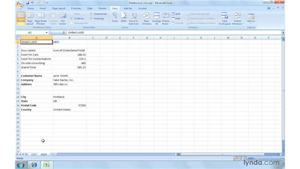 Printing invoice worksheets: Excel 2007: Creating and Managing Invoices