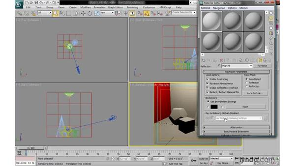 Applying a raytrace reflection map to a standard material: 3ds Max 2010: Lighting and Rendering with mental ray