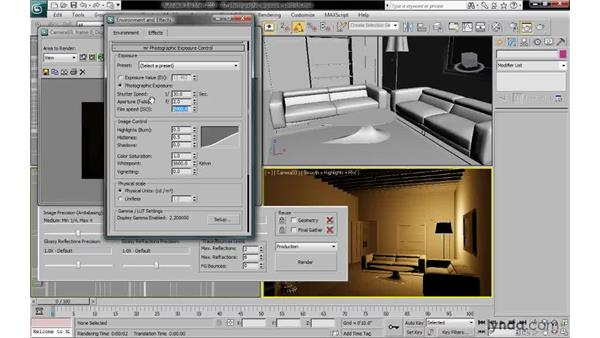 Using photographic exposure settings: 3ds Max 2010: Lighting and Rendering with mental ray