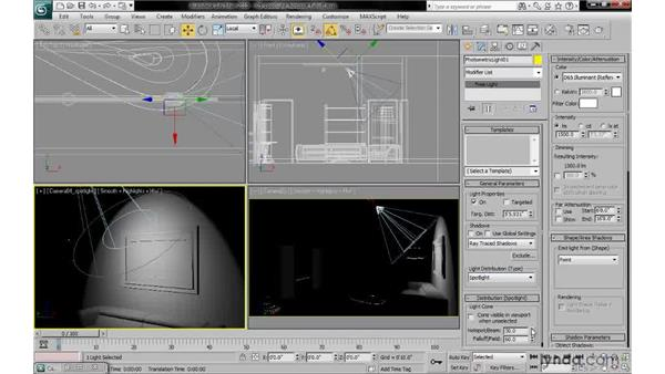 Adjusting spotlight hotspot and falloff angles: 3ds Max 2010: Lighting and Rendering with mental ray
