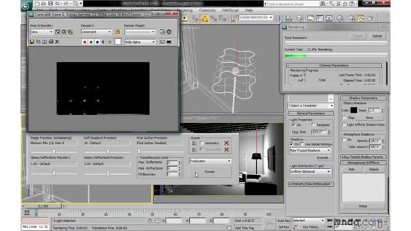 Rendering raytraced shadows: 3ds Max 2010: Lighting and Rendering with mental ray