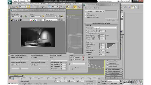 Adjusting exposure control for final gather: 3ds Max 2010: Lighting and Rendering with mental ray