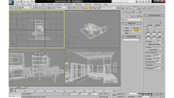 Creating a daylight system: 3ds Max 2010: Lighting and Rendering with mental ray