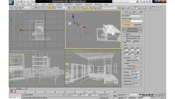 Setting the location, date, and time from the Motion panel: 3ds Max 2010: Lighting and Rendering with mental ray