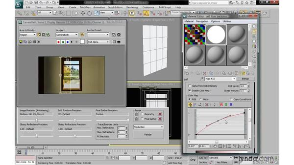 Adjusting the color map to color-correct the backdrop: 3ds Max 2010: Lighting and Rendering with mental ray