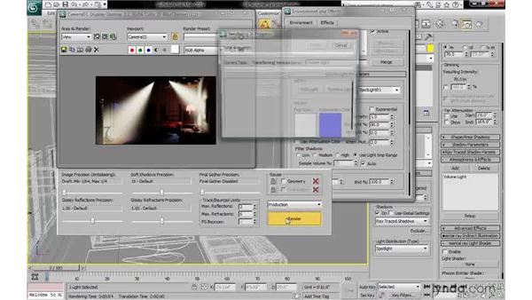 Adjusting volume light parameters: 3ds Max 2010: Lighting and Rendering with mental ray
