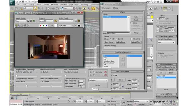 Adding a lens effect to a light: 3ds Max 2010: Lighting and Rendering with mental ray