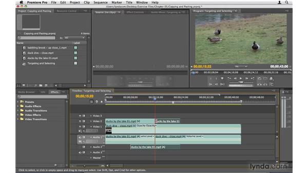 Copying and pasting clips: Premiere Pro CS4 Beyond the Basics