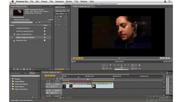 Replacing clips: Premiere Pro CS4 Beyond the Basics