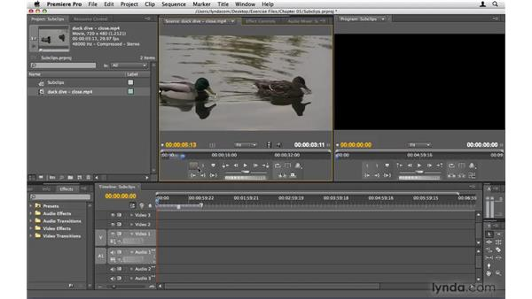 Working with subclips: Premiere Pro CS4 Beyond the Basics