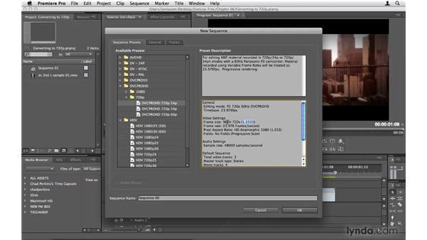Converting DVCPRO HD to standard 720p: Premiere Pro CS4 Beyond the Basics