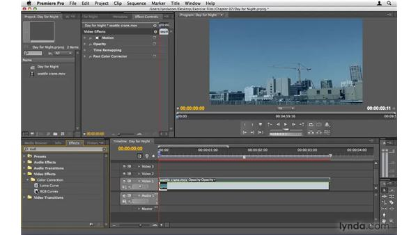 Creating a day-for-night shot: Premiere Pro CS4 Beyond the Basics
