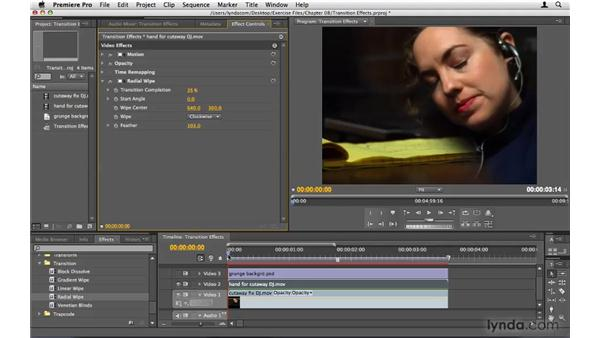 Using transition effects: Premiere Pro CS4 Beyond the Basics