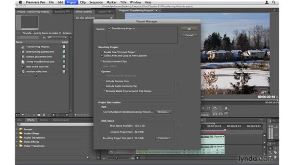 Transferring projects to another machine: Premiere Pro CS4 Beyond the Basics