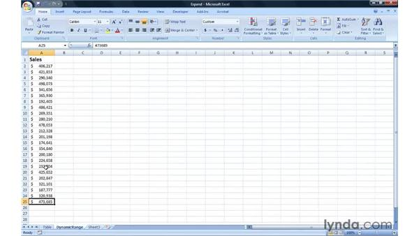 Creating an expanding chart: Excel 2007: Creating Charts with Dynamic Data