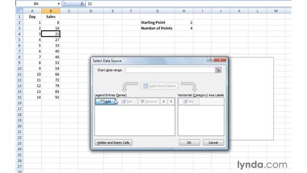 Specifying the first point and number of points for a series: Excel 2007: Creating Charts with Dynamic Data