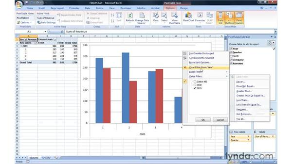Filtering a PivotChart: Excel 2007: Creating Charts with Dynamic Data