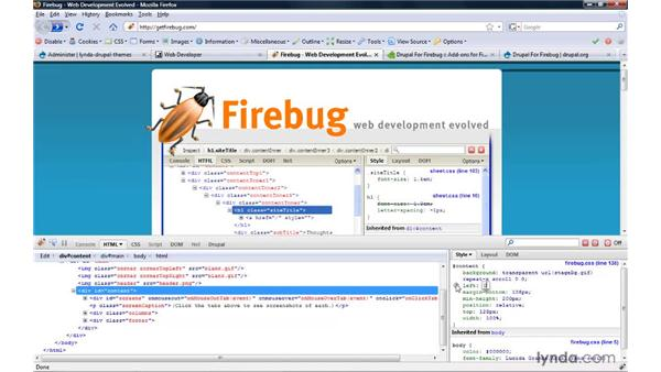 Using Firefox extensions for site development: Drupal 6: Creating and Editing Custom Themes