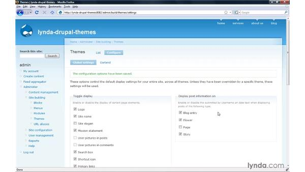 Configuring global theme features and post settings: Drupal 6: Creating and Editing Custom Themes