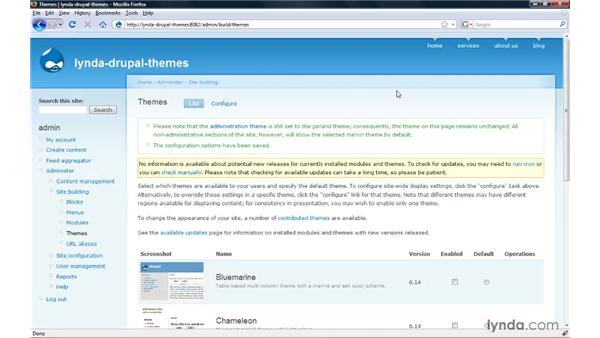 Setting the administration theme: Drupal 6: Creating and Editing Custom Themes
