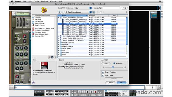 Importing audio to the sampler: Reason and Record for Live Performance