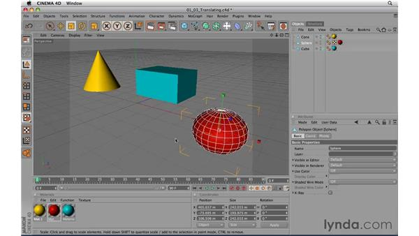 Translating and moving objects in the viewport: CINEMA 4D R11.5 Essential Training