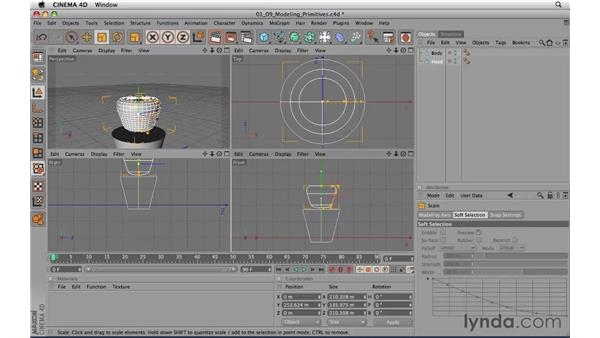 Modeling with primitive objects: CINEMA 4D R11.5 Essential Training