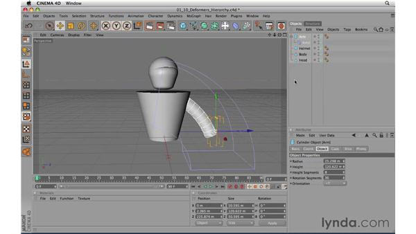 Using deformers to refine objects: CINEMA 4D R11.5 Essential Training