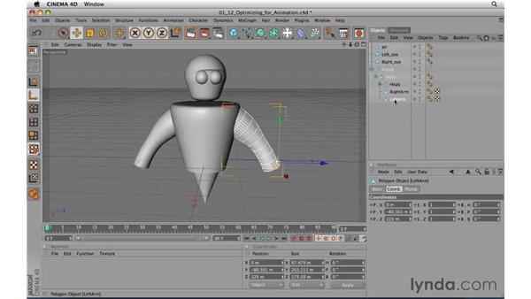 Optimizing models for animation: CINEMA 4D R11.5 Essential Training