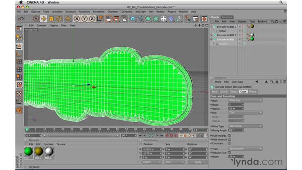 Troubleshooting extrude NURBS: CINEMA 4D R11.5 Essential Training