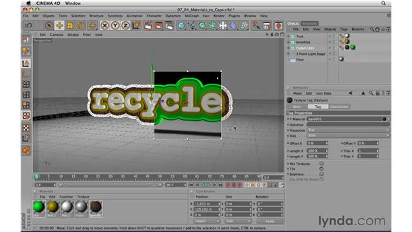 Applying materials to objects caps: CINEMA 4D R11.5 Essential Training