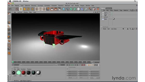 Using the Exclude feature with lights: CINEMA 4D R11.5 Essential Training