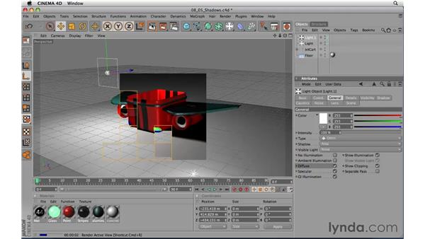 Creating and adjusting shadows: CINEMA 4D R11.5 Essential Training