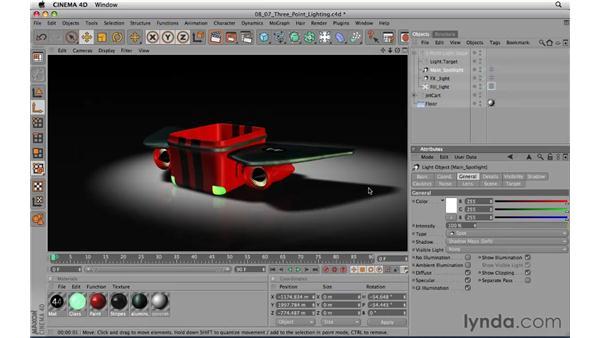 Setting up three-point lighting: CINEMA 4D R11.5 Essential Training