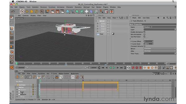 Adding and controlling keyframes: CINEMA 4D R11.5 Essential Training